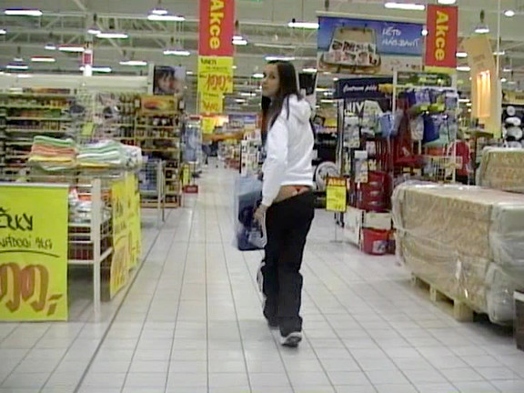 i record my sexy brunette girlfriend shopping and trying on various cloths