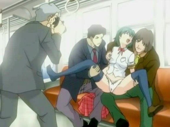 Group sex going on in the running train. Get the hot anime with incredible group sex going on in the running train
