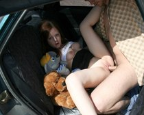 Cuddly red amateur hooked to be owned in the car