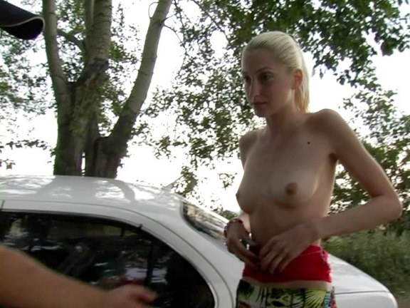 Thin blonde amateur shows her bare body for cash