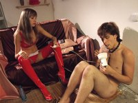 Femdom action with luscious mistress in red trampling slave from My SLave LIfe