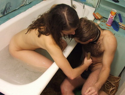 Lewd lady playing with her wet slave in the bath from My SLave LIfe