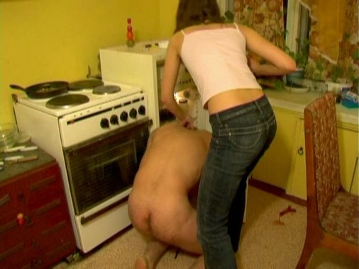 Slave gets wildly kicked when washing up from My SLave LIfe